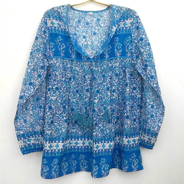 Blue Bohemian Peasant Top The Fox and the Mermaid