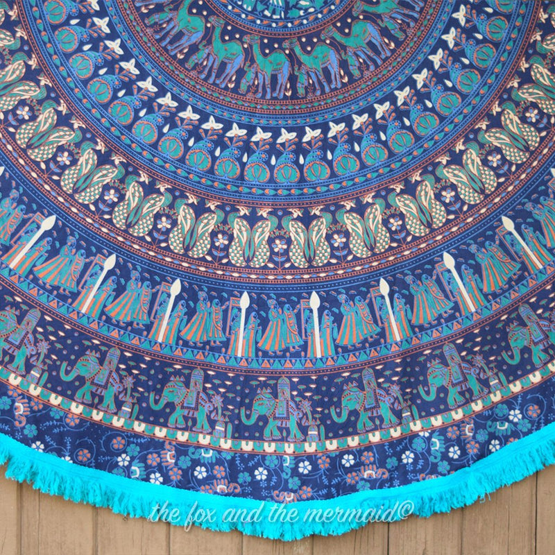 The Maharaja Mandala Roundie with Blue Fringe - The Fox and The Mermaid - 2