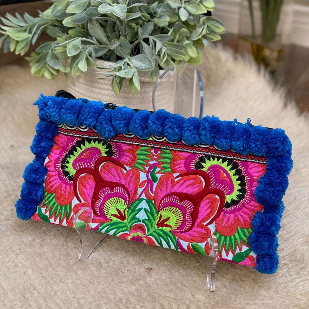 Blue Hmong Embroidered Clutch - The Fox and The Mermaid