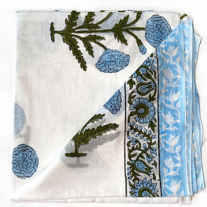 Blue Mughal Block Printed sarong - The Fox and the Mermaid