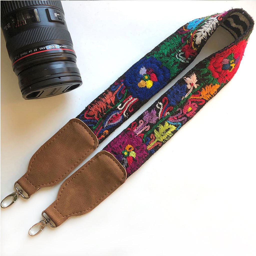 Blue and Red vegan Camera Strap The Fox and the Mermaid