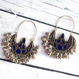 Blue Glass Indian Tribal Earrings The Fox and the Mermaid