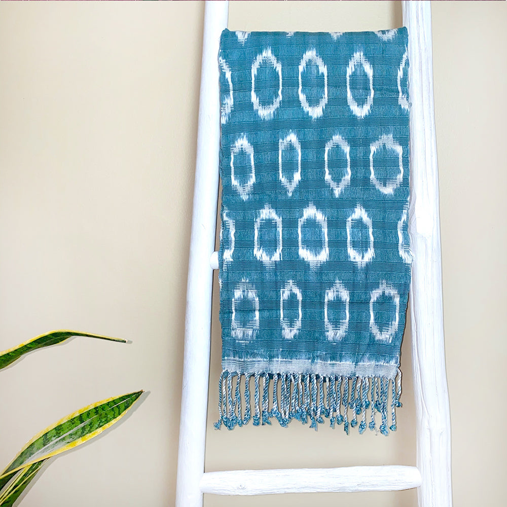 Grey Blue handwoven guatemalan shawl and scarf - The Fox and the Mermaid