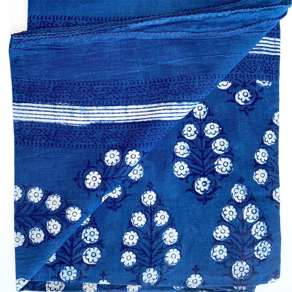 indigo blue block printed voile sarong - The Fox and the Mermaid