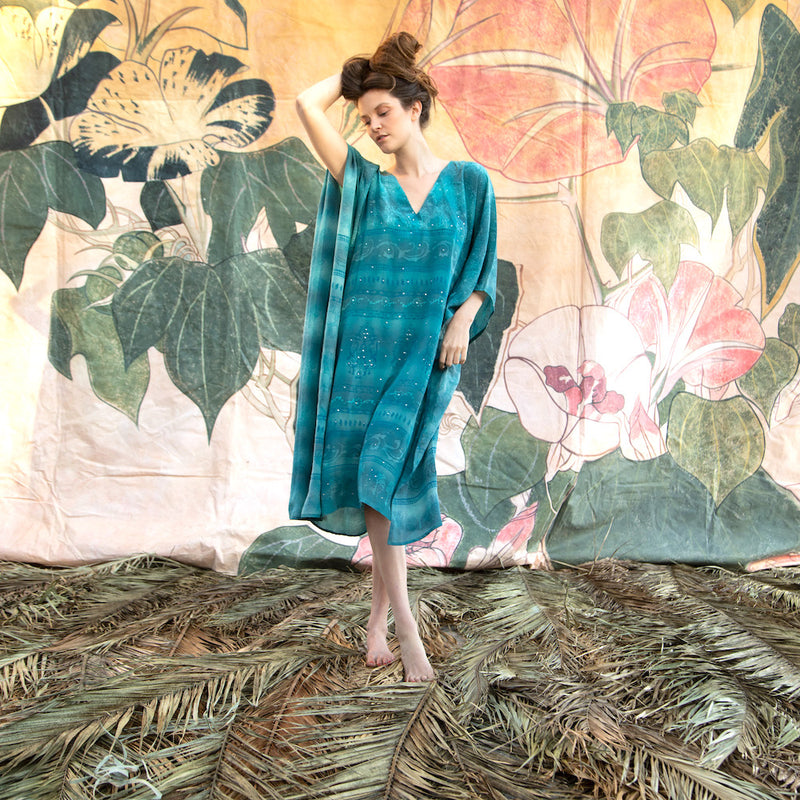 blue silk indian saree kaftan - The Fox and the Mermaid