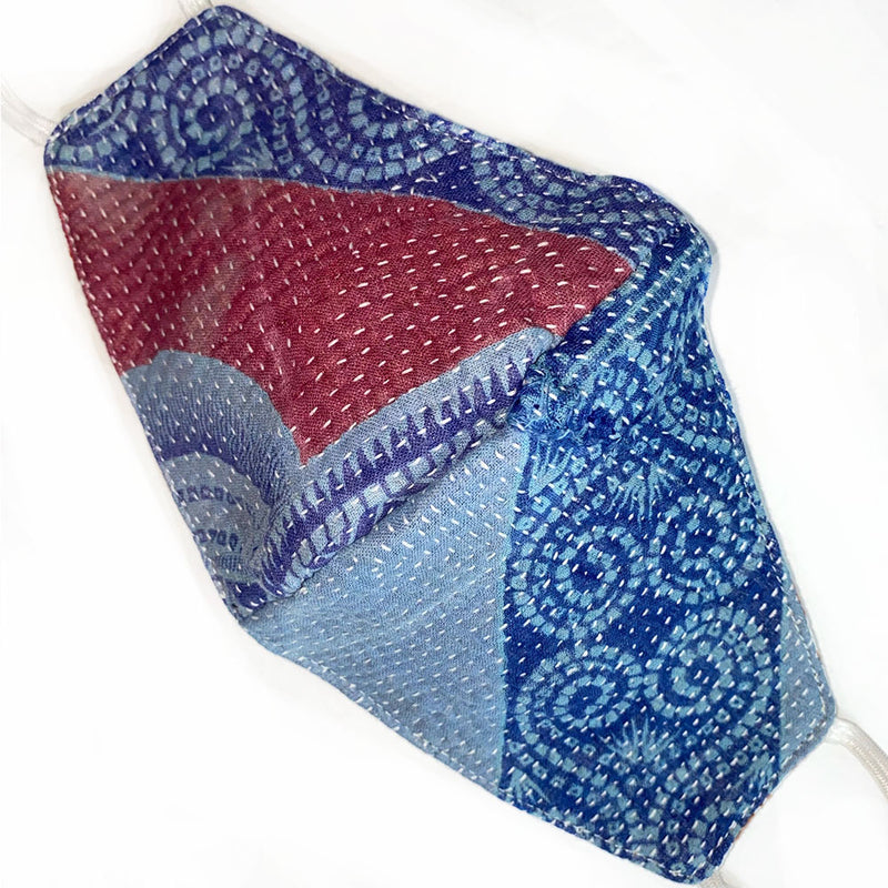 soft blue kantha mask - The Fox and the Mermaid
