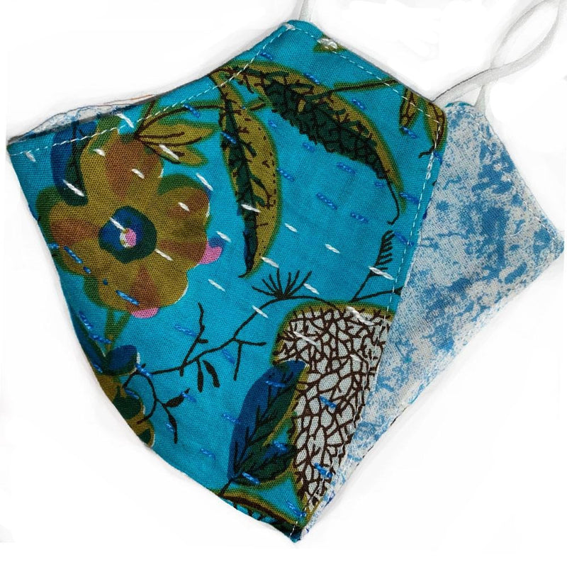reversible cotton resuable kantha mask - The Fox and the Mermaid