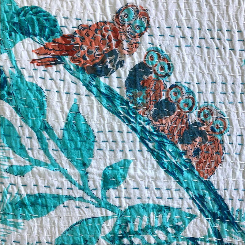 owl detail on quilt The Fox and the Mermaid