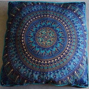 Mandala Tapestry Floor Cushion and Dog Bed: Blue - The Fox and The Mermaid - 1