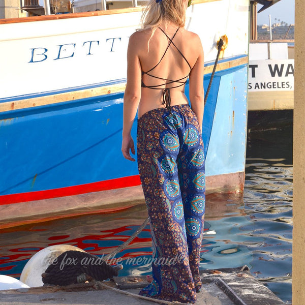 Blue Mandala Flare Pants The Fox and the Mermaid