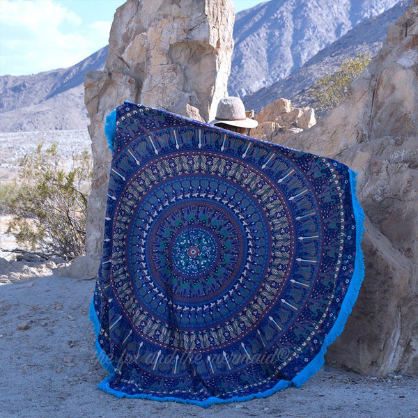 The Maharaja Mandala Roundie with Blue Fringe - The Fox and The Mermaid - 1