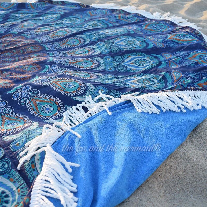 Under The Sea Round Beach Towel - The Fox and The Mermaid - 2