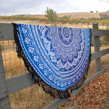 Mother Ocean Blue Ombre Mandala Roundie with Black or White Fringe - The Fox and The Mermaid - 2