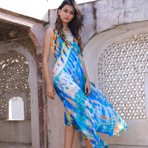 tie-dye silk dress from india - The Fox and the Mermaid