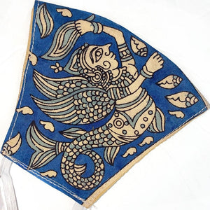 blue hand painted face mask - The Fox and the Mermaid