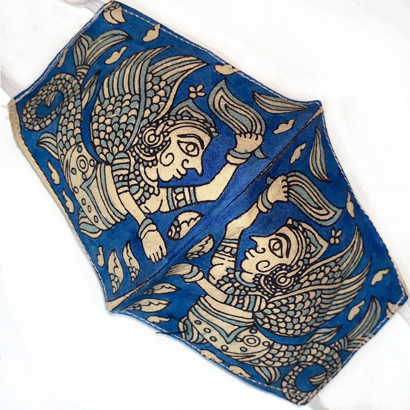 Blue hand painted indian cotton mask - The Fox and the Mermaid