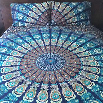 Under The Sea Boho Blue Tapestry Bedding - The Fox and The Mermaid - 1
