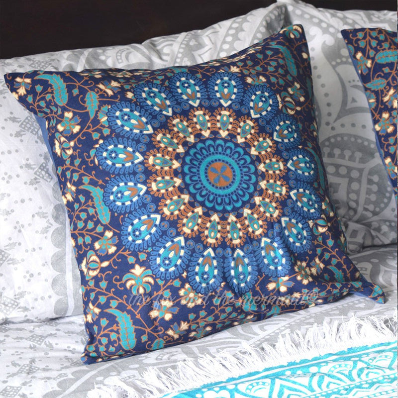 Square Mandala Tapestry Cushion Cover - The Fox and The Mermaid - 1