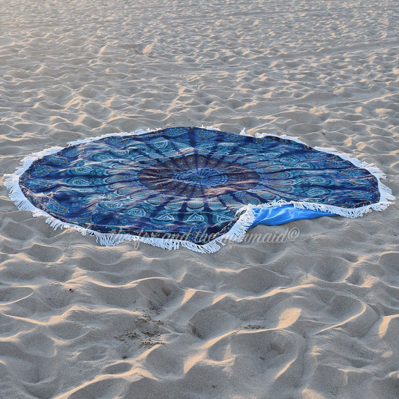 Under The Sea Round Beach Towel - The Fox and The Mermaid - 1