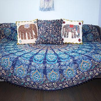 Under The Sea Boho Blue Mandala Roundie Quilt with Pom-Poms