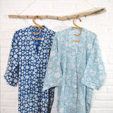 Blue block printed robes The Fox and the Mermaid