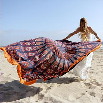 Gypsy Soul Mandala Roundie with Orange Fringe - The Fox and The Mermaid - 1