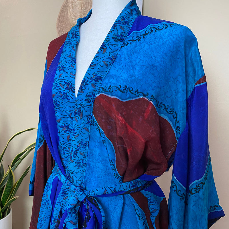 bright blue silk robe - The Fox and the Mermaid