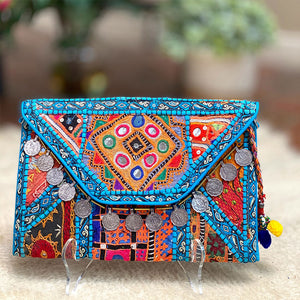 Embroidered Banjara Clutch with Vintage Coins