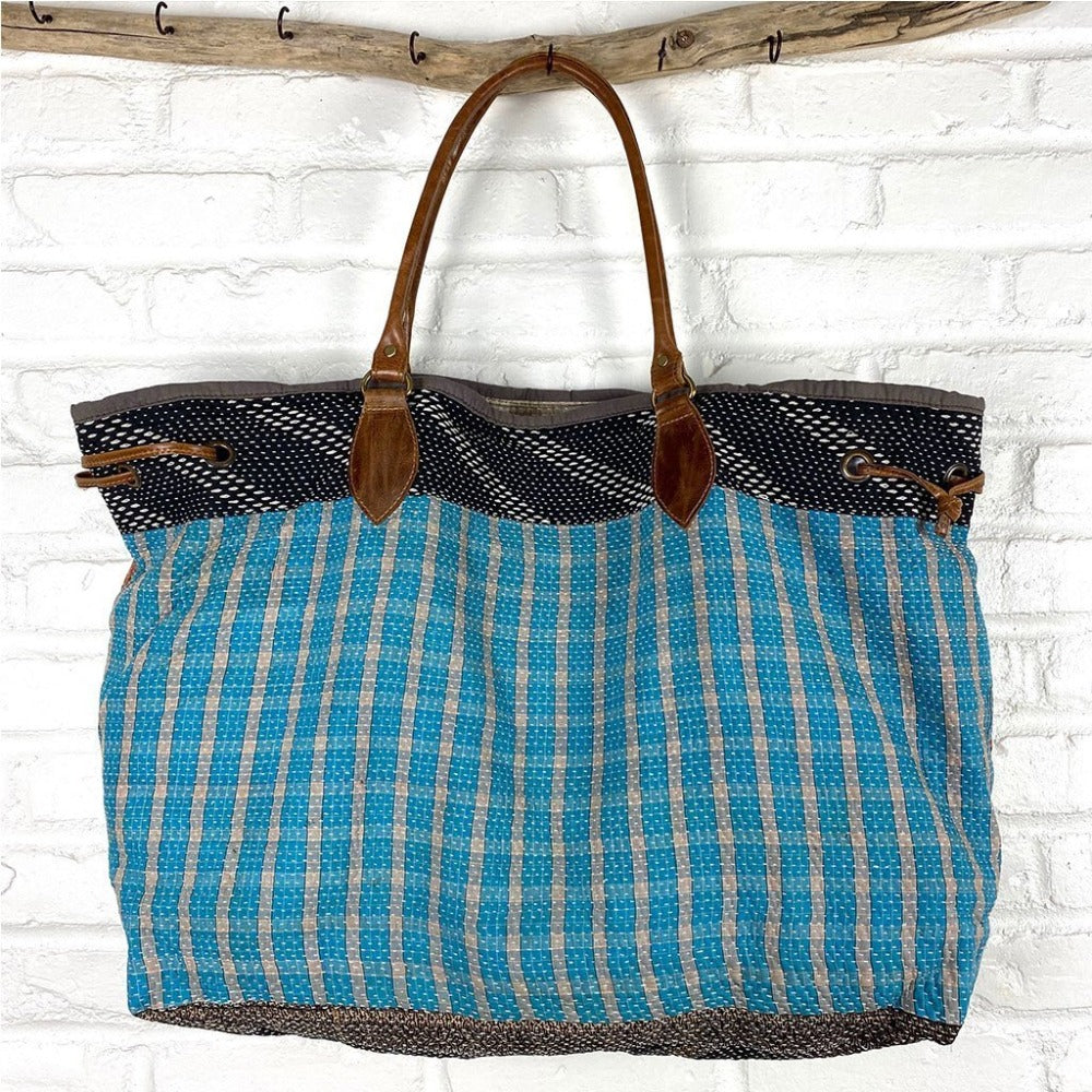 Blue and brown kantha weekender bag The Fox and the Mermaid