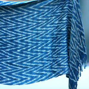 Blue Handwoven shawl - The Fox and the Mermaid