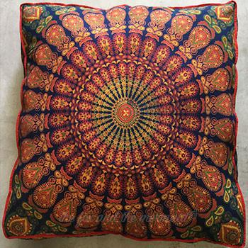 Mandala Tapestry Floor Cushion and Dog Bed: Blue, Orange, Green and Yellow - The Fox and The Mermaid - 1