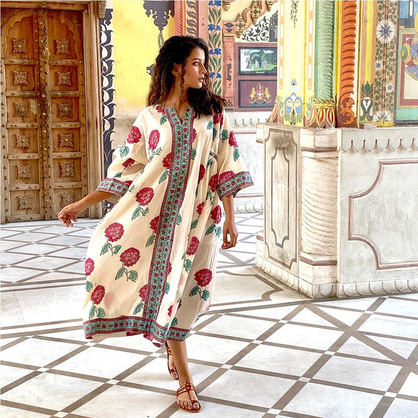 block printed caftan The Fox and the Mermaid