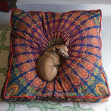 Mandala Tapestry Floor Cushion and Dog Bed: Blue, Orange, Green and Yellow - The Fox and The Mermaid - 2