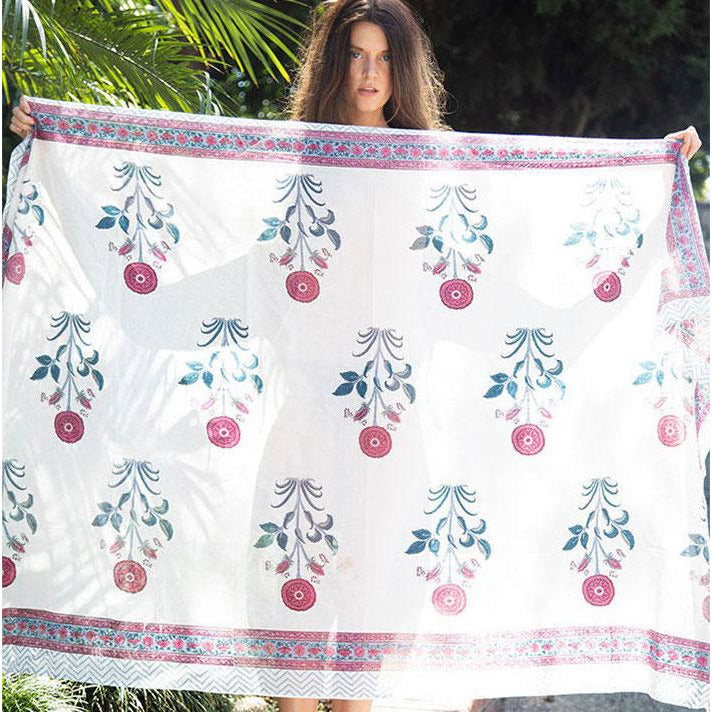 red mughal block printed sarong - The Fox and the Mermaid