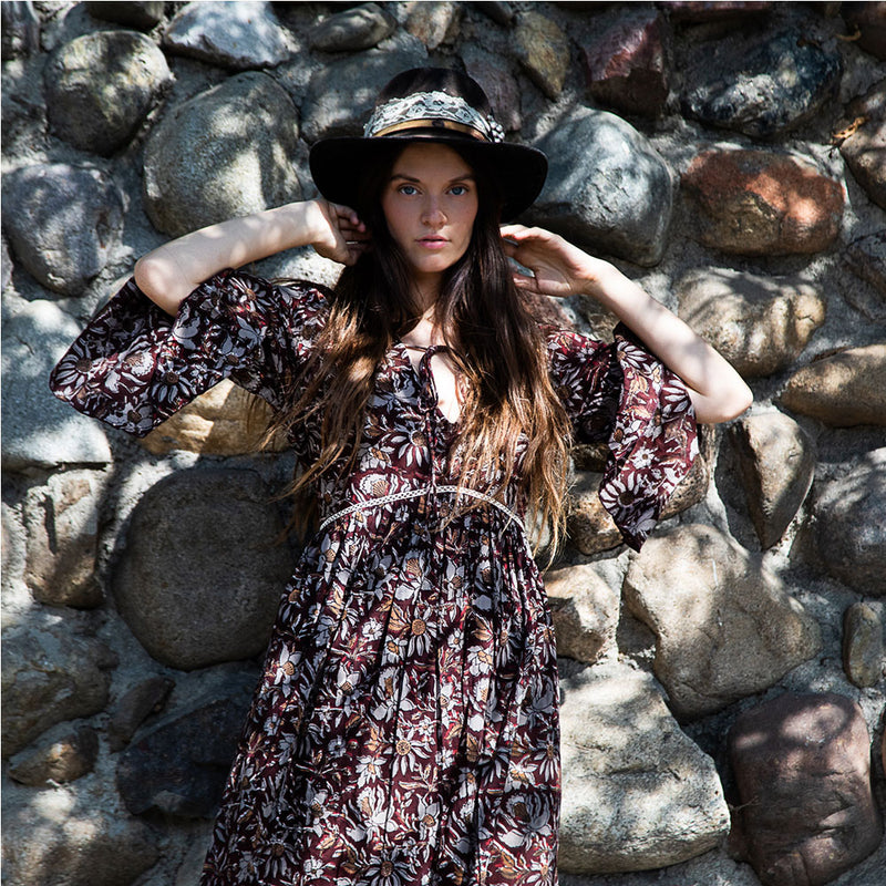 brown and grey long floral Dress - The Fox and the Mermaid