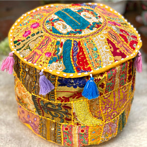 Yellow patchwork vintage embroidered pouf cover - The Fox and the Mermaid