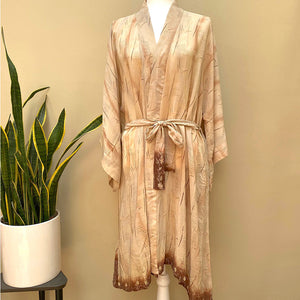 beige silk kimono with brown detailing The Fox and the Mermaid