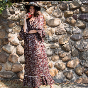 brown cotton hippie Dress - The Fox and the Mermaid