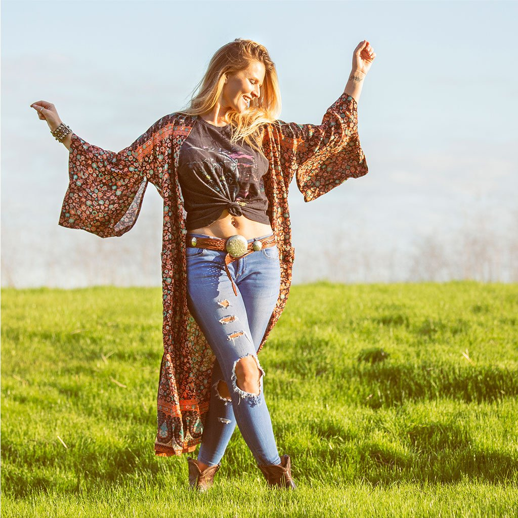 Brown and turquoise boho kimono The Fox and the Mermaid