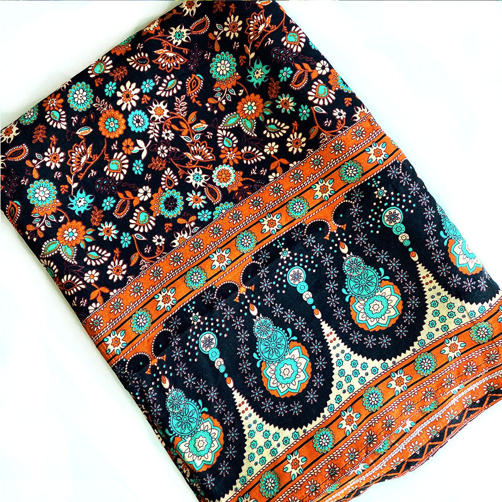 Vintage Style Brown and Turquoise Sarong The Fox and the mermaid
