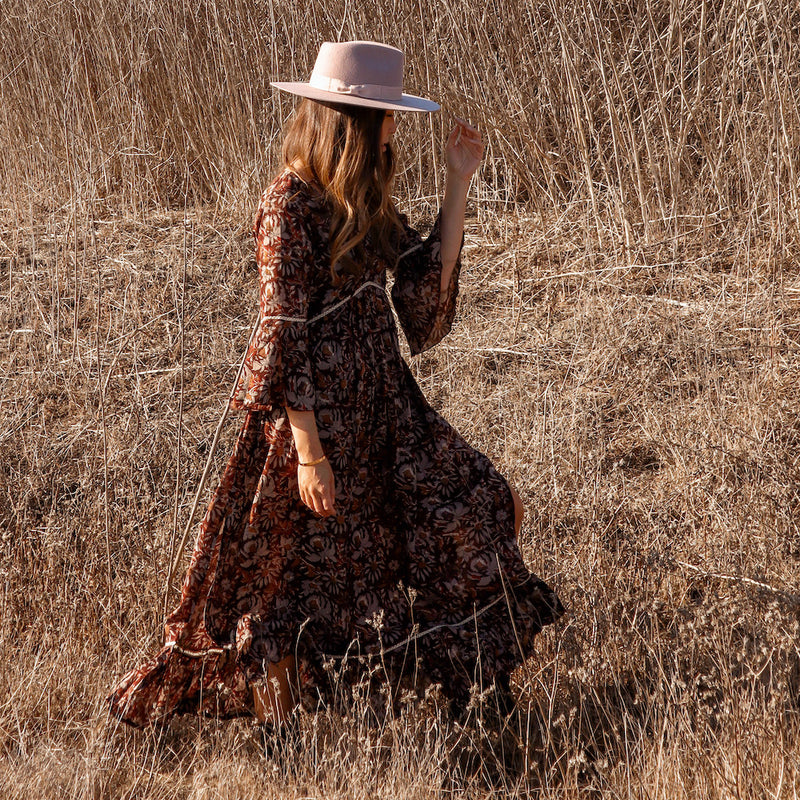brown indian printed boho dress - The Fox and the Mermaid