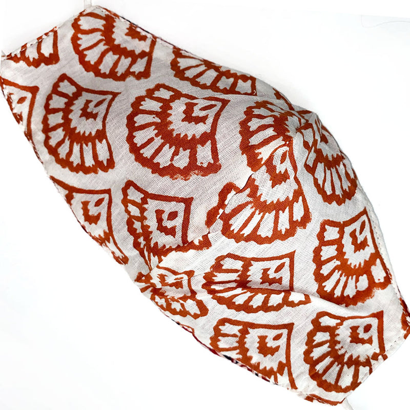 hand block printed back of kantha mask - The Fox and the Mermaid