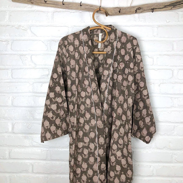 Brown Block Printed Cotton Robe The Fox and the Mermaid