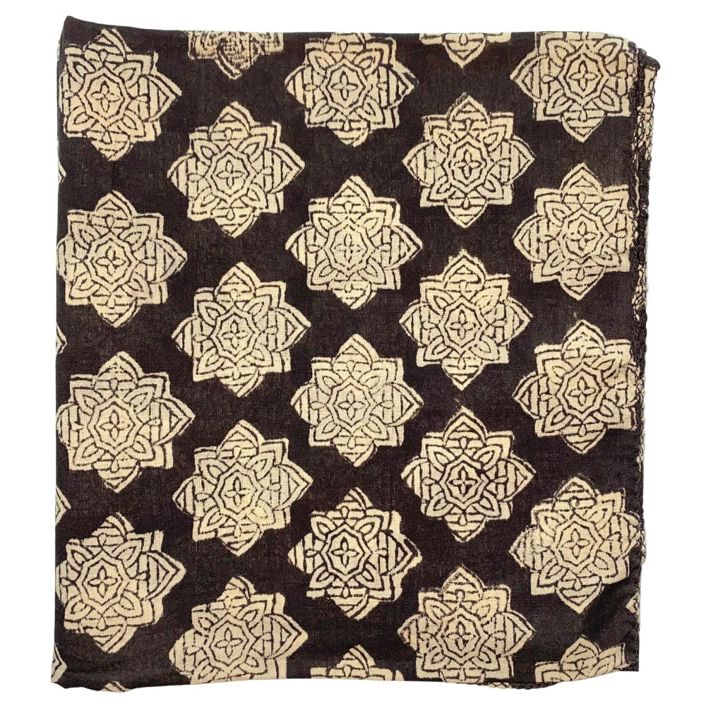 brown block printed indian head scarf - The Fox and the Mermaid