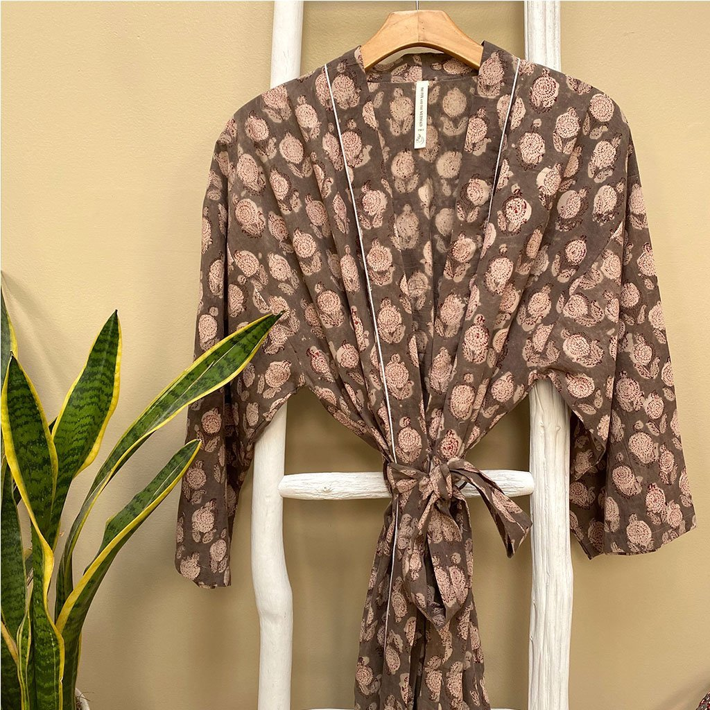 Brown and Cream Block Printed Cotton Robe The Fox and the Mermaid