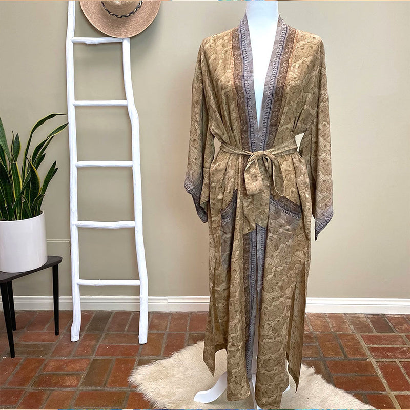 Brown and beige silk kimono  - The Fox and the Mermaid