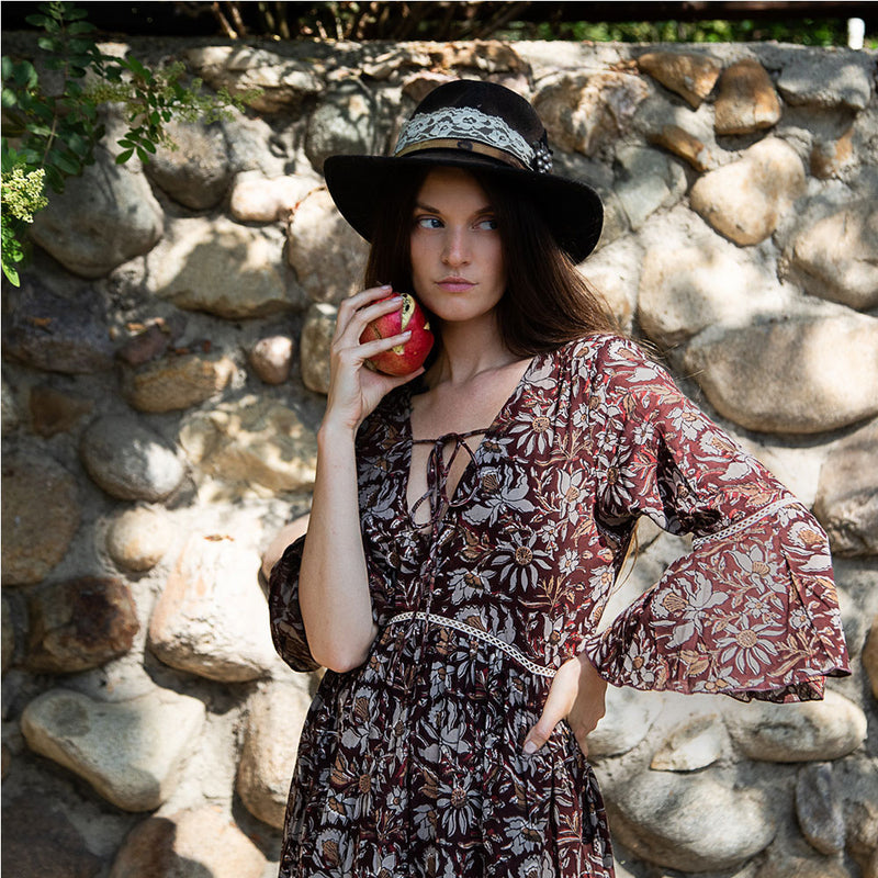 Brown Floral &0s style boho dress - The Fox and the Mermaid