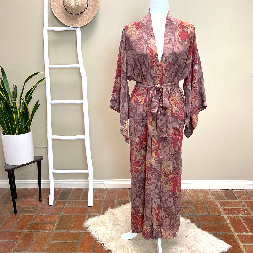 Brown Floral Vintage Silk Robe and kimono - The Fox and the Mermaid