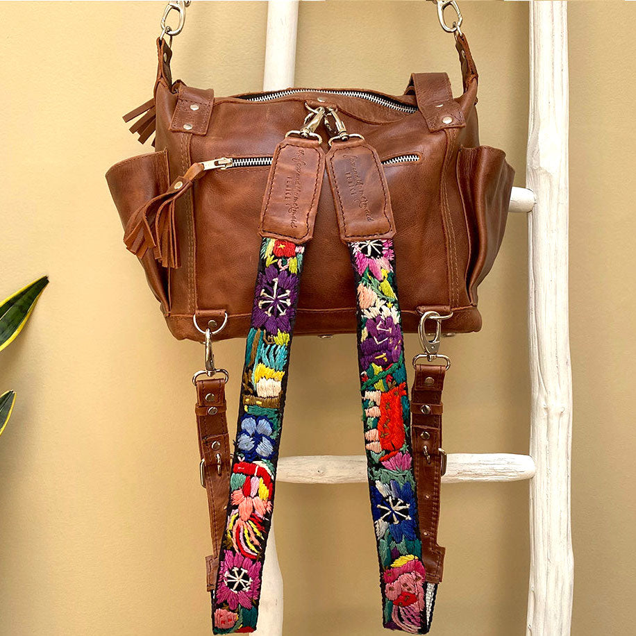 brown leather convertible backpack with embroidered straps with flowers and birds - The Fox and the Mermaid