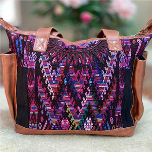 purple and blue geometric style hupil bag with detachable straps - The Fox and the Mermaid